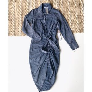 YFB ruched Tie-dye ruched shirt dress